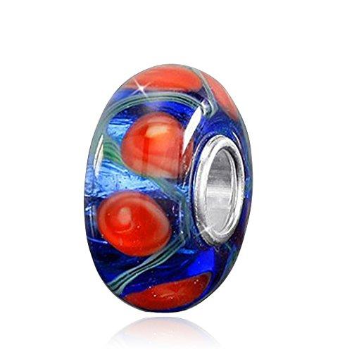 MATERIA 925 Silber Murano Glas Anhänger - Muranoglas Beads Glitzer Glasperle rot blau für Beads Armband #1012