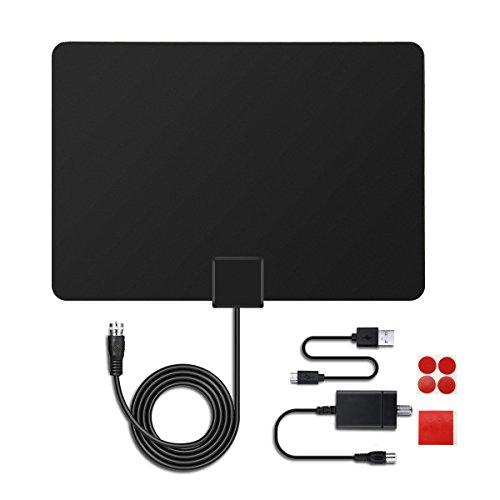 MECO Antenne TNT Intérieure, Full HD HDTV Aérienne avec d'Excellente Performance pour DVB-T TNT Numérique et Analogique TV Signaux, VHF / UHF / FM, Fenêtre Aérienne, à 50km Range avec Une Câble Coaxia Noir IEC