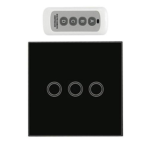 F Fityle Fernbedienungswand Berührungsloser Schalter Lichtplatte An/Aus Berührungssensor - Schwarz, 3 Gang (Gang Wandhalterung 3)