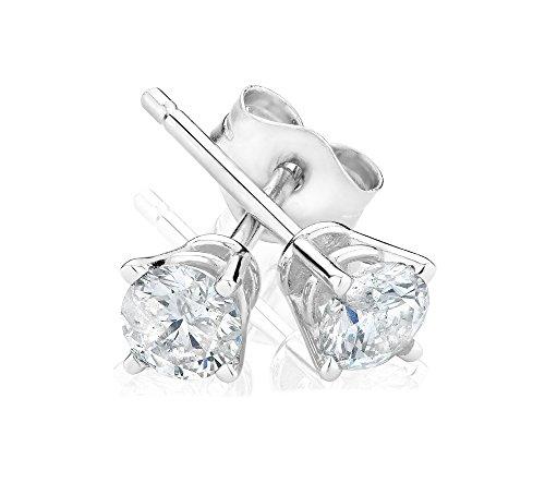 Diamante solitario orecchini a perno-Diamanti di Grandi dimensioni, Oro bianco, colore: white, cod. 1 CARAT DIAMOND STUDS
