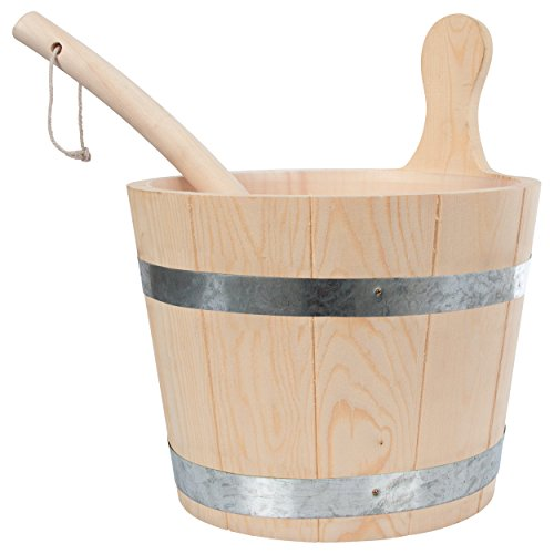 Sauna-Set: Aufgusskübel + Schöpfkelle, Saunakübel Sauna Kelle, Saunaaufgusskübel