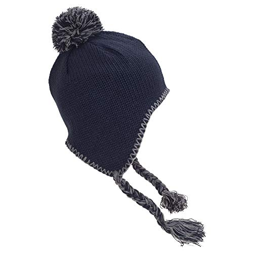 Beachfiel - Gorro clásico estilo peruano con pompón y flecos unisex (Talla Única/azul marino/gris)