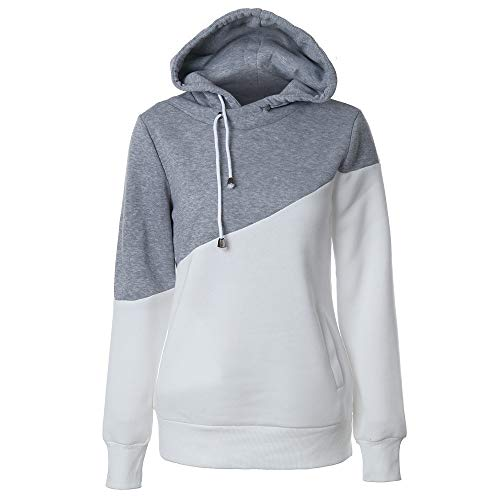 ZHJA 2019 New Women's Sweater Farblich Abgestimmter Kordelzug Kapuzenpullover Pocket Long-Sleeved Shirt -