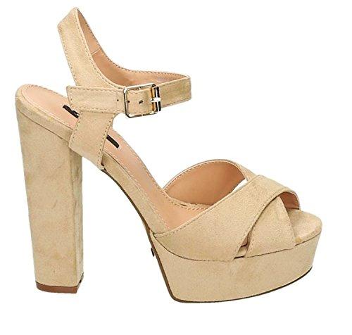 Slingback Heels (King Of Shoes Damen Riemchen Abend Sandaletten High Heels Pumps Slingbacks Velours Peep Toes Party Schuhe Bequem 07 (39, Beige))