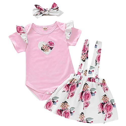 DWQuee Baby Girls Clothing Set, Heart Romper Top+Floral Straps Skirt+Headband Outfits