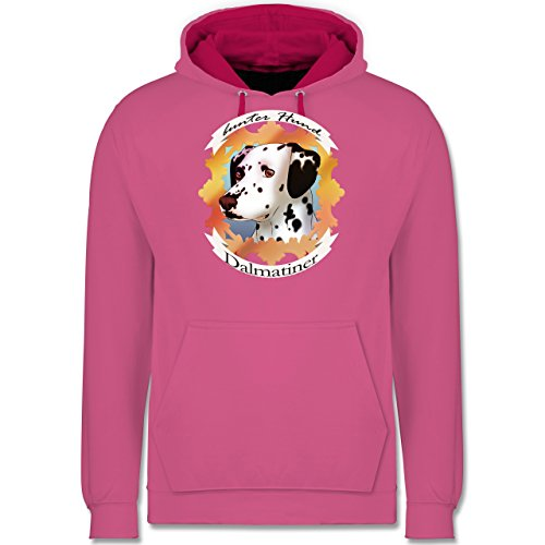 Hunde - Dalmatiner - bunter Hund - Kontrast Hoodie Rosa/Fuchsia