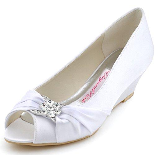 Elegantpark WP1403 bout ouvert Compensé Femmes boucle arc Satin Chaussures de Mariée Blanc