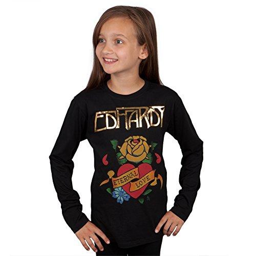 Ed Hardy Mädchen T-Shirt Schwarz Schwarz