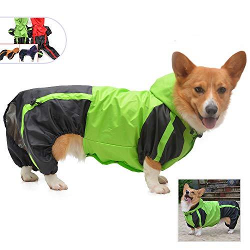 lovelonglong Hunde Regenmantel mit Hoodie, Atmungsaktive Regenjacke mit Vier Beinen im Freien Einstellbare wasserdichte Regenjacke für Der Dachhund Corgi Hunde Green D-L