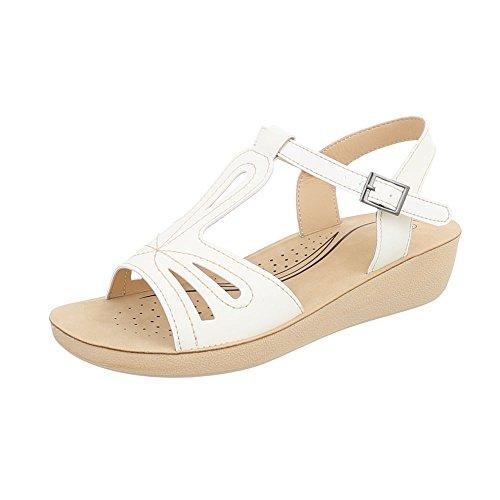 Ital-Design Scarpe da Donna Sandali Piatto Sandali Col Tacco con Cinturino Bianco