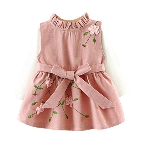 OVERDOSE Kleinkind Baby Kind Mädchen Langarm Gestrickte Bogen Neugeborenen Tutu Prinzessin Kleid 0-24 Monate (6-12 Monate, B-A-Pink)