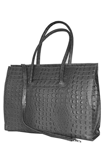 Leather ladies business bag / Briefcase / laptop bag con tracolla ( 49 / 28 / 13 cm)pelle Italia mod. 2026 p Cognac_Croco