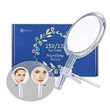 Miroir grossissant 15X, miroir double face, grossissement 15X/1X, miroir de maquillage avec support,...
