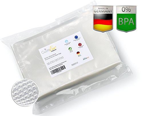 GustoVac Vakuumbeutel 100 ST. 20x30 cm Premium für alle Vakuumiergeräte - Optimal für Küche, Haushalt, Sous-Vide / Vakuum-Garen, Einfrieren und lange Haltbarkeit - (100 Beutel Premium PE-Fleece-Siegelrandbeutel - 90µ mit Struktur) Made in Germany
