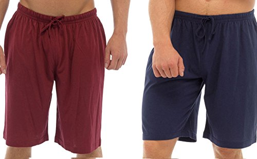 mens-twin-pack-lounge-shorts-stretch-jersey-sleep-night-wear-pyjamas-pj-bottoms-x-large-navy-red