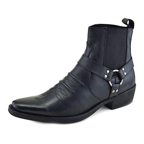 mens-cowboy-leather-ankle-biker-western-boots-uk-9-eu-43-black