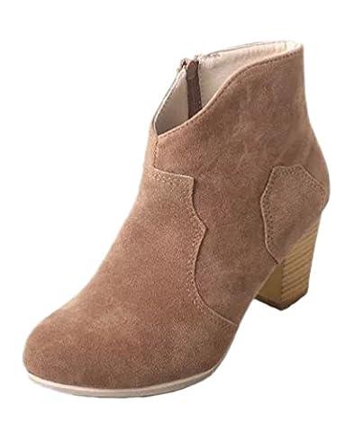 Minetom Damen Britische Retro Chelsea Ankle Boots Kurzstiefel Elegant Hohen Absätzen Schuhe Stiefel Reitstiefelette Gummistiefelette Braun EU 43