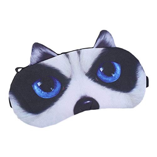 Kostüm Muster Hunde Ohr - DAKERTA Schlafmaske Lustig Augenmaske Süße Schlafbrille mit 3D Ohr Katze Hund Augenbinde Augenabdeckung für Frauen Kinder Zug Bus Flugzeug Reise Büro Mit Eissack (D)