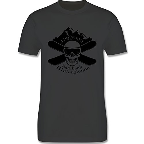 Après Ski - Apres Ski Saalbach Hinterglemm Totenkopf - Herren Premium T-Shirt Dunkelgrau