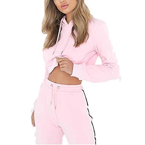 Sportanzug damen Kolylong® 1 Set Frauen Casual lose Outfit Sportbekleidung Tops + Hose lange Yoga Outdoor Jogging Sportkleidung (Rosa,