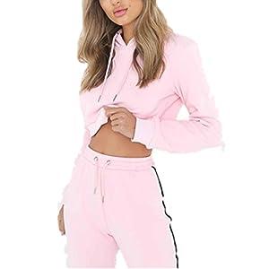 Sportanzug damen Kolylong® 1 Set Frauen Casual lose Outfit Sportbekleidung Tops + Hose lange Yoga Outdoor Jogging Sportkleidung