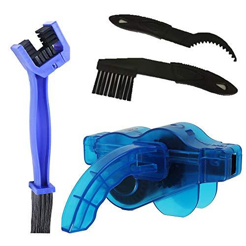 Skysper pulisci catena bici, kit pulizia bicicletta professionale con 2 spazzole e 1 ingranaggio lavacatena bici pulizia profondo per tutti i tipi di catene da strada bicicletta mtb moto blu