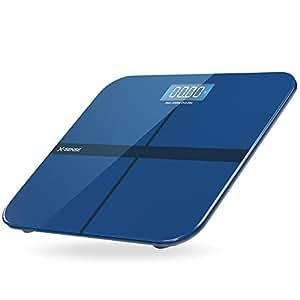 X-Sense Bilancia digitale pesa persone da bagno X-Sense con tecnologia Step-On, ampio piano d'appoggio in vetro temperato arrotondato, grande display illuminato, blu