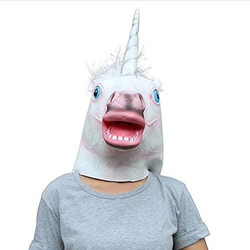 Rwdacfs Masken für Erwachsene,Einhorn Latex Maske White Horse Head Set Halloween Leistung ()