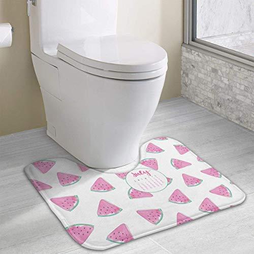 Vidmkeo July Desktop Calendar Contour Bath rug, U-Shaped Polyester Toilet Floor Mat Non Slip Bathroom Shower Carpet