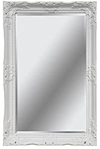 Shabby chic miroir baroque en bois massif taill for Miroir baroque grande taille