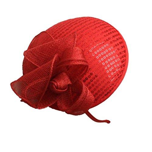 Disco Rojo de lentejuelas Sinamay Loop red Hatinator Alice banda de pelo tocado