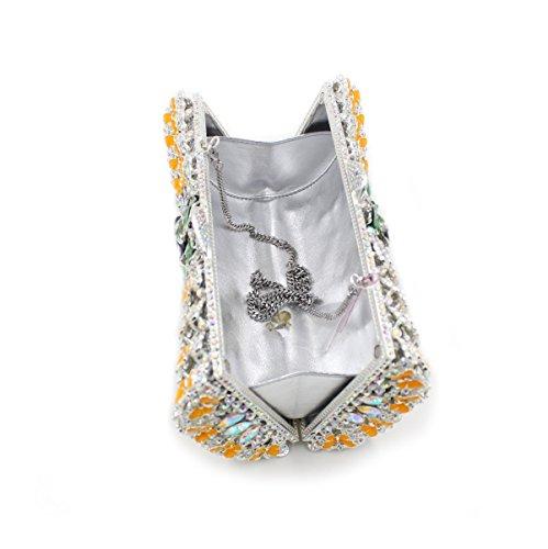 Lady Abend Kupplungen Umhängetaschen Luxus Dinner Party bunten Abend Stickerei Kette Tasche B