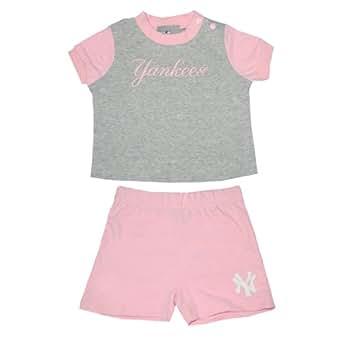 2 PCS Set: MLB New York Yankees Infant Girls T Shirt & Shorts 12M Pink & Grey