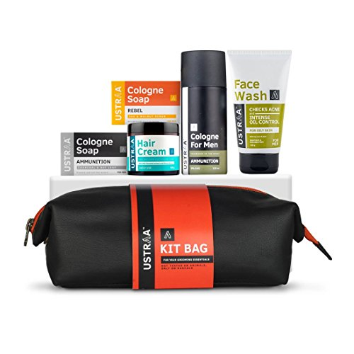 Ustraa Kit- Cologne & Rebel Soap, Hair Cream, Face Wash & Cologne spray with Free Travel bag