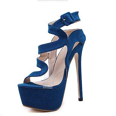 LvYuan Da donna Sandali Felpato Estate Fibbia A stiletto Nero Blu 12 cm e oltre Blue