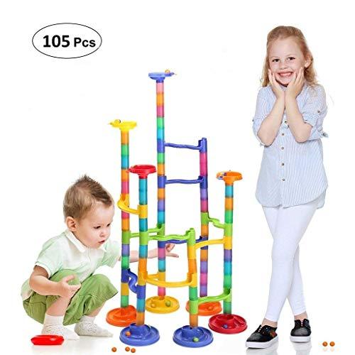 Shinehalo 105 Piezas Bloques plástico de constrcción Juguetes Infantil con Pelota Marble Run Juguetes ensamblados para educación de los niños