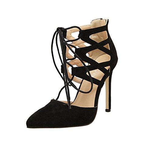 Damen Sandalen Stöckelschuhe 2018 Xinantime Rom Gladiator High Block Heels Ankle Riemchen Lace UP Party Schuhe Frauen 11.5cm Schwarz/Khaki 35-42 (EU 39, Schwarz)