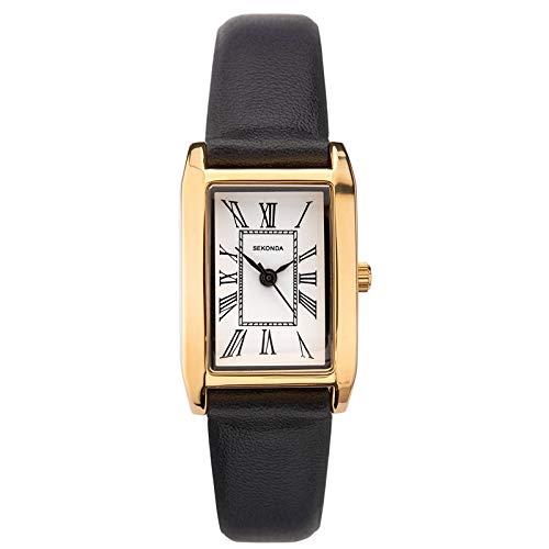 Sekonda Classique Femme Montre à Quartz avec Cadran Blanc Affichage analogique et Bracelet Noir 2693