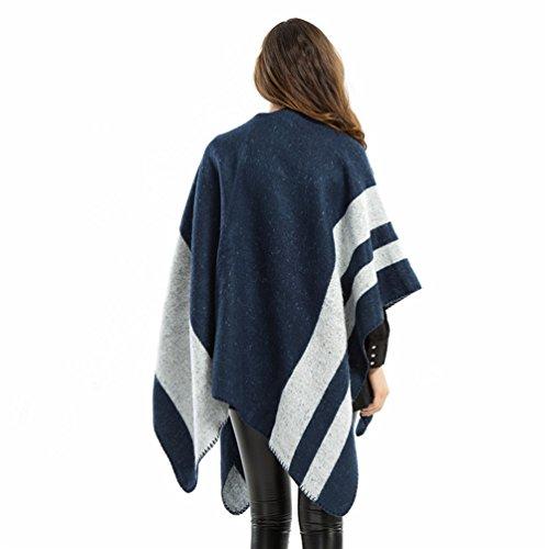 ZKOO Poncho Sciarpa Donne Oversize Stripe Scialle Capes Autunno Scialle Maglione Cappotto Caldo Wie das Bild1