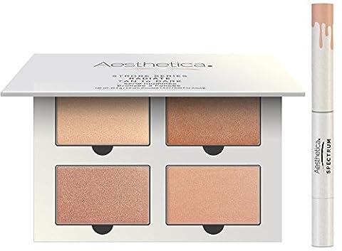 Kit réhausseur série Strobe d'Aesthetica - Palette de maquillage 5 produits - Comprend 4 poudres illuminatrices et 1 surligneur liquide - Consignes pas-à-pas incluses - teint bronzé à