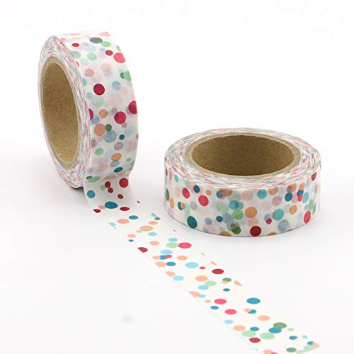 MONVNV 10 Mt * 15Mm Kreative Farbige Punkte Washi Klebeband Diy Dekoration Scrapbooking Planer Masking Tape Kawaii Briefpapier Klebeband 5 Stücke