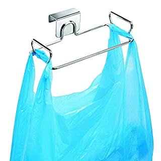 Hanging Garbage Bags Storage Organizer Rack Stainless Steel Trash Bag Holder Towel Gloves Hanger for Kitchen Cabinet Cupboard Drawer Back Door Hook Hangers