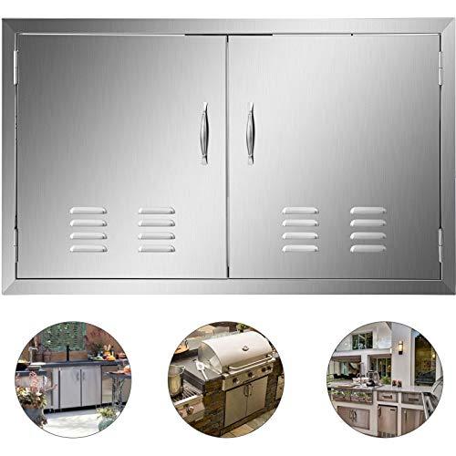 HuSuper 91x53cm Double Küche Kamintür BBQ Access Tür Edelstahl Putztür Outdoor Kitchen Door Walled Door mit Belüftungsöffnungen für Außenküchen und Grillinsel