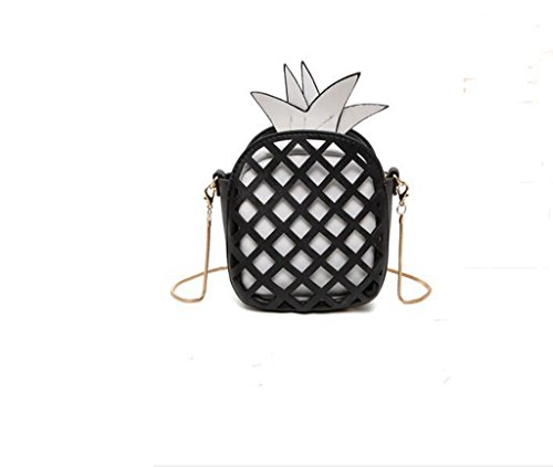 Borsa di spalla della signora di tendenza moda, sacchetto del messaggero donna individualità ananas black