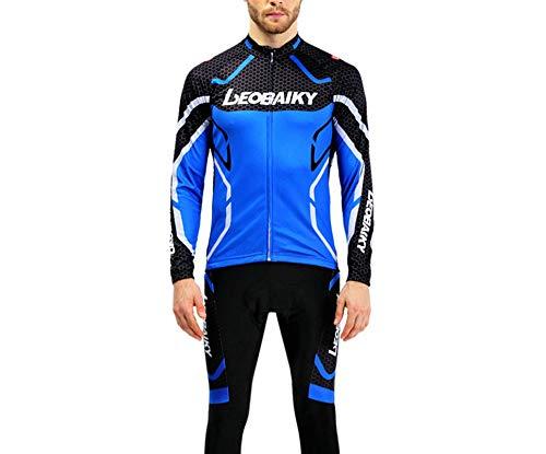 SonMo Schutz Radjacke + Fahrradhose Radfahren Jersey Set Fahrradbekleidung Set Langarm Radtrikot Sommer mit Sitzpolster Reflektorstreifen Blau M
