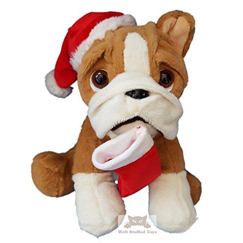 Bulldog Soft Toy Santa Weihnachten Plüsch Outfit -