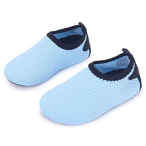JIASUQI Durable Sohle Wasser Schuhe Barfuß Haut Cartoon Aqua Socken für Wasser Gymnastik, Himmel Blau 6-12 Monate - Spitze 9