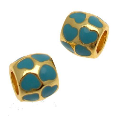 Cuentas de Acosta - turquesa esmalte corazón espaciadores - Slide de poner y quitar colgantes de cuentas (2 unidades) tono de oro