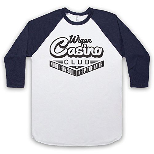Wigan Casino Northern Soul 3/4 Hulse Retro Baseball T-Shirt Weis & Ultramarinblau