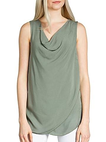 CASPAR BLU016 leichtes elegantes Damen Sommer Top mit Wasserfallkragen , Farbe:oliv grün;Größe:One Size (S.M.L)